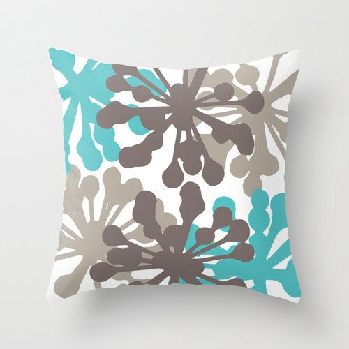 Modern Flower Buds Throw Pillow Cover  Teal Brown  by Aldari Home Love this companies bedding and pillow!