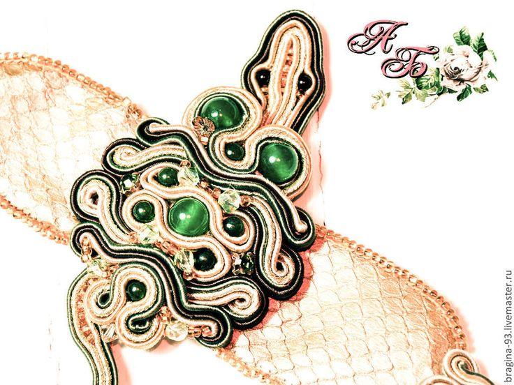 """Купить браслет """"Рептилия"""" - золотой, змея, рептилия, ящерица, кожа питона, полудрагоценные камни"""