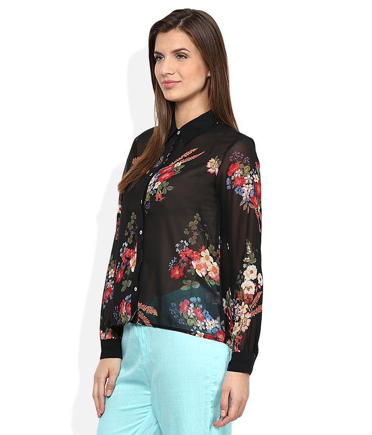 American Swan Black Floral Shirt