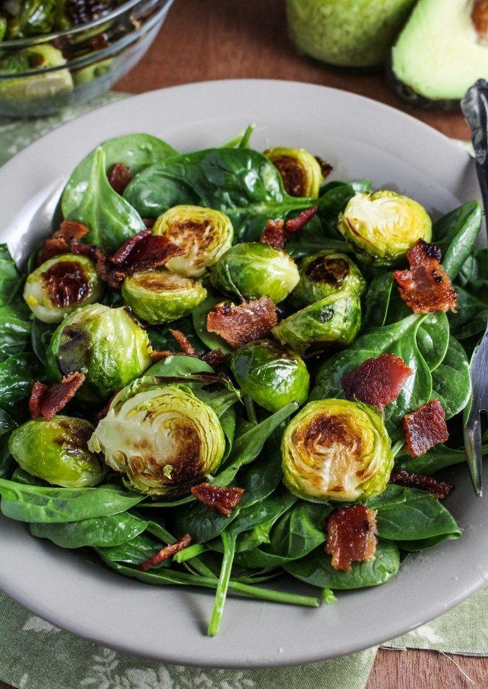 Roasted Brussels Sprout and Bacon Salad with Avocado Vinaigrette {Katie at the Kitchen Door}