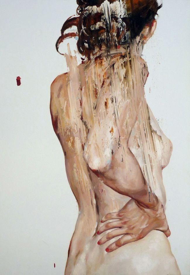 """Estuche 5"" - Cesar Biojo, oil on canvas, 2013 {contemporary figurative #expressionist artist discreet nude female standing posterior back woman texture grunge painting} cesarbiojo.com"