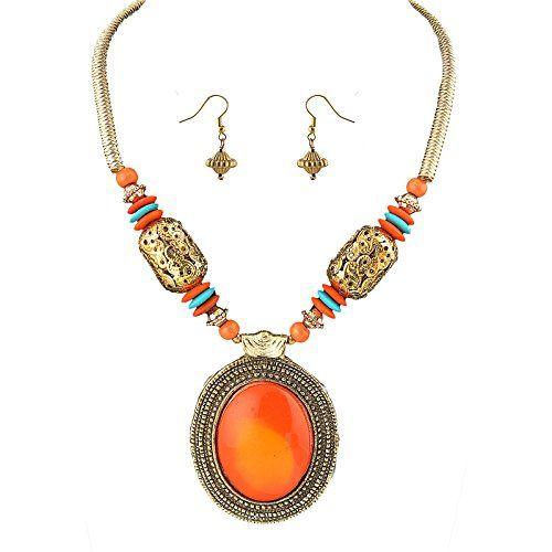 Zephyrr Fashion Necklace Earrings Set Tibetan Beaded Handmade Boho 3