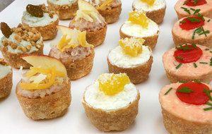 Tartaletas saladas variadas para aperitivos