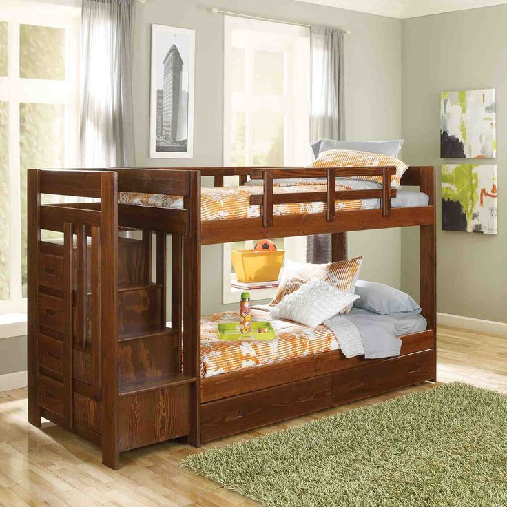 Have to have it. Heartland Twin over Twin Bunk Bed with Stairs - Chocolate - $618.95 @hayneedle