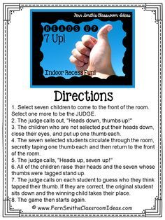 Ready for Indoor Recess? Need a Brain Break? Pin now and save this post for later! #Free 7-Up Directions Printable Directions #FREEBIE