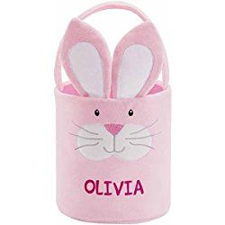 Personalized Easter Friends Plush Baskets , Pink Bunny