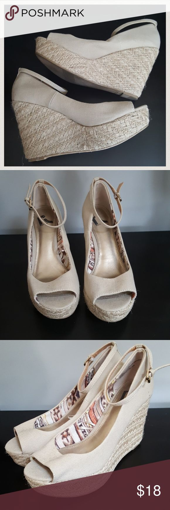 """REPORT Sexy Comfy Cream Wedges sz 8.5 Used once! In great condition ladies. Super comfy , selling for my sister she's pregnant will not be using anything with a heel for awhile.  Heel at its highest almost 4.5"""" Report Shoes Wedges"""
