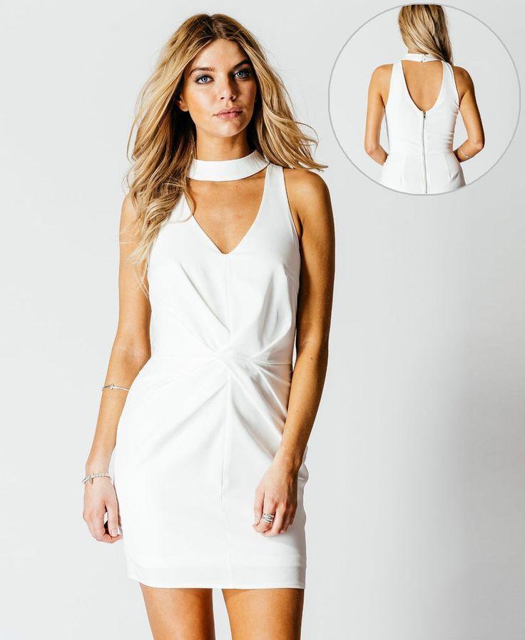 White Choker DRESS Ladies NEW Short mini Strappy Summer Dresses UK Size 8-14