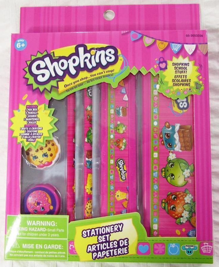 Shopkins Stationary Set  Pencil Box Eraser Sharpener Ruler 2 Pencils NEW in Box #Moose