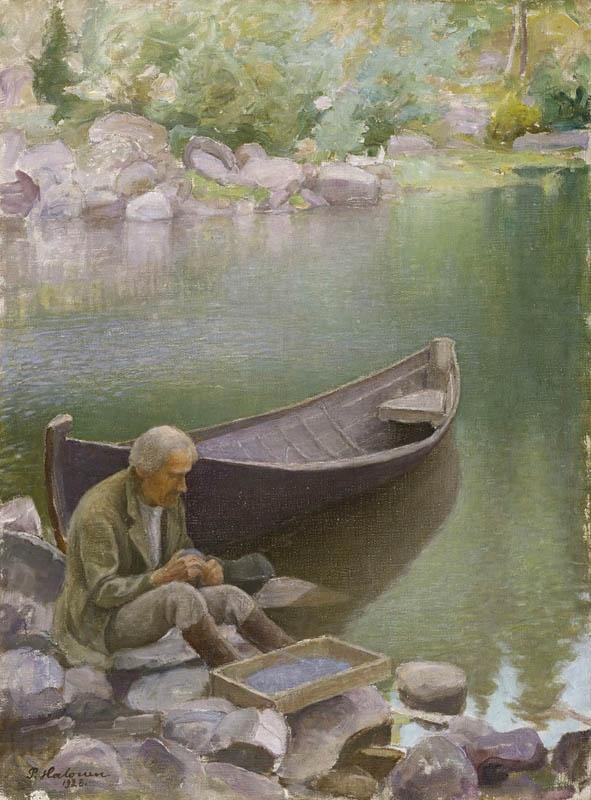 Pekka Halonen: 'The Fisherman', 1928   repin via Anneli L. • https://www.pinterest.com/pin/478085316670433586/