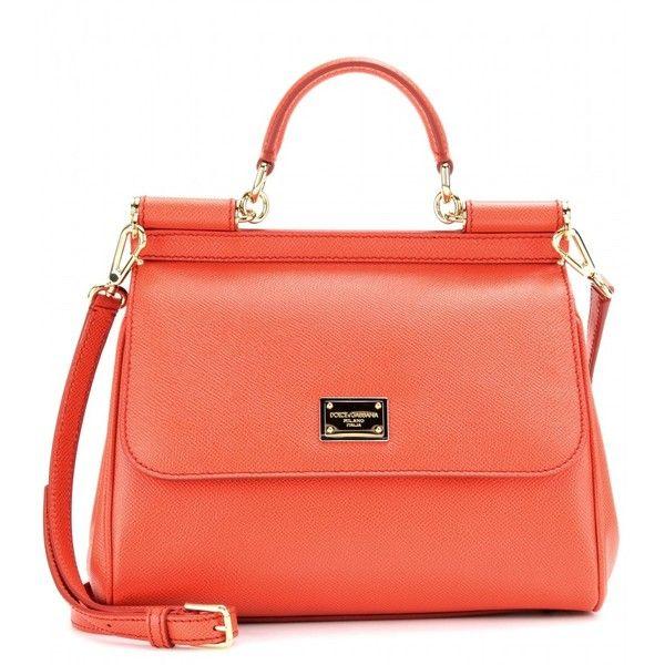 Dolce & Gabbana Mini Miss Sicily Leather Shoulder Bag ($1,445) ❤ liked on Polyvore featuring bags, handbags, shoulder bags, purses, borse, bolsas, fard, orange purse, shoulder strap handbags and leather purse