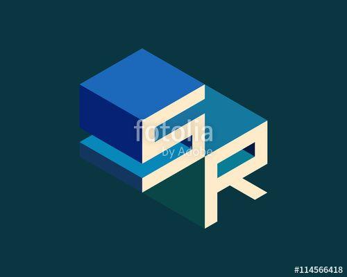 Vector: SR isometric 3D letter logo. three-dimensional stock vector alphabet font typography design.