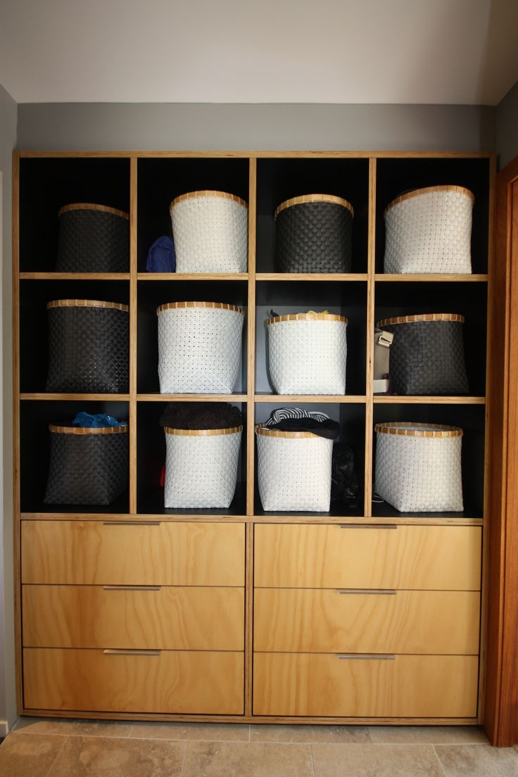 Laundry Storage, Ply edge feature cabinetry, basket storage.