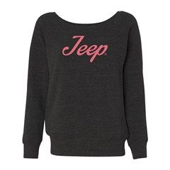 All Things Jeep Wide Crewneck Junior Fit Sweatshirt, Pink or Gray Script