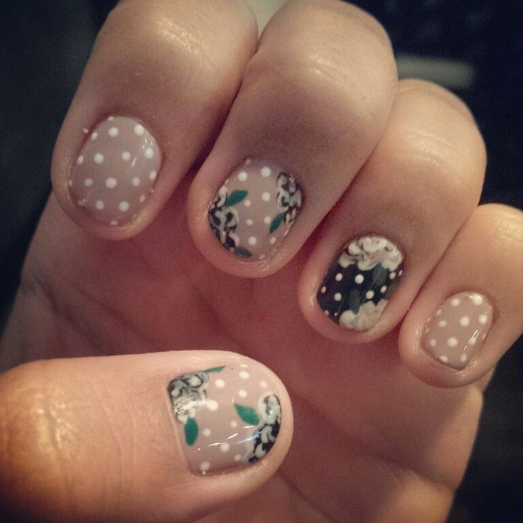 Floral and polka dot nail art. Seven Salon Omaha, Nebraska