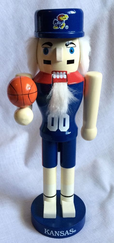 Kansas University Jayhawks Basketball Wooden Nutcracker New in Orig Package #SportsCollectorsSeries #KansasJayhawks