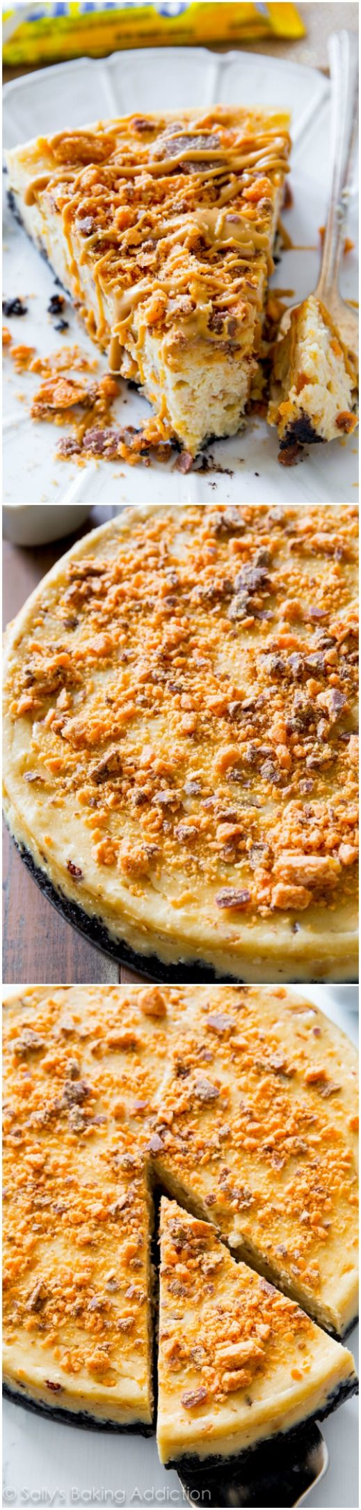 Everyone will go crazy for this Peanut Butter Butterfinger Cheesecake Recipe ~ rich peanut butter cheesecake filled with crushed Butterfinger candy bars and topped with peanut butter drizzle. This is one incredibly indulgent dessert!