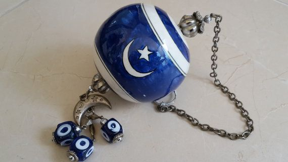 Vintage Evil Eye glass and porcelain Wall Hanging by Myowncoffee