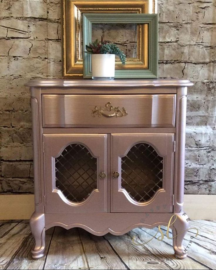 Rose Metallic Paint By Modern Masters Painted On Small End Table/Night  Stand By Itu0027s