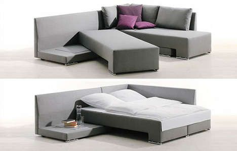 Slidable Sleeping Sofas - The Vento Convertible Bed Couch Does Not Need to be Pulled Out (GALLERY)