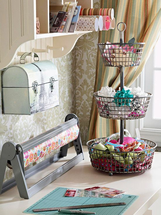 Uncommon Uses: Crafts Rooms, Offices, Ribbons, Lunches Boxes, Rooms Ideas, Gifts Wraps, Wire Baskets, Storage Ideas, Wraps Stations