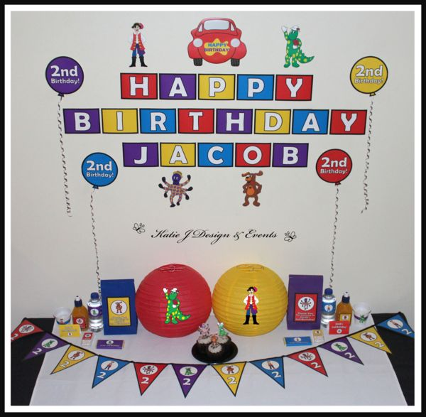 Mega Party Pack #The #Wiggles #Dorothy #Wags #Captain #Feathersword #Henry #BigRedCar #Boy #Birthday #Party #Decorations #Ideas #Banners #Cupcakes #WallDisplay #PopTop #JuiceLabels #PartyBags #Invites #Ideas #KatieJDesignAndEvents #Personalised #Creative #Kids #Bunting