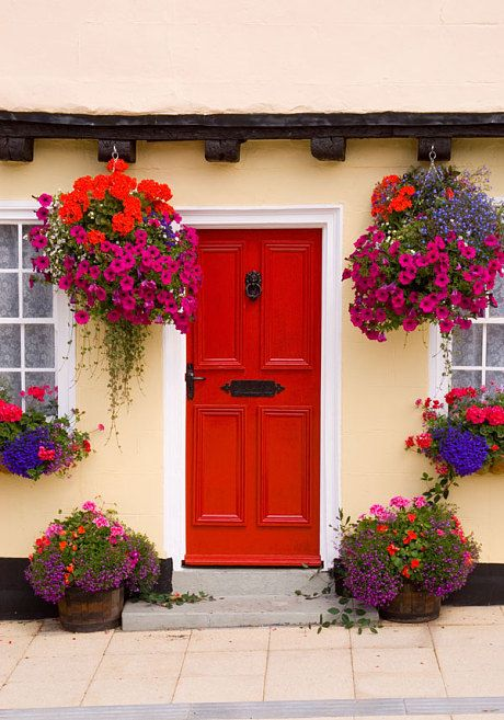 Beautiful hanging baskets, window box and container gardens at front door. So colorful