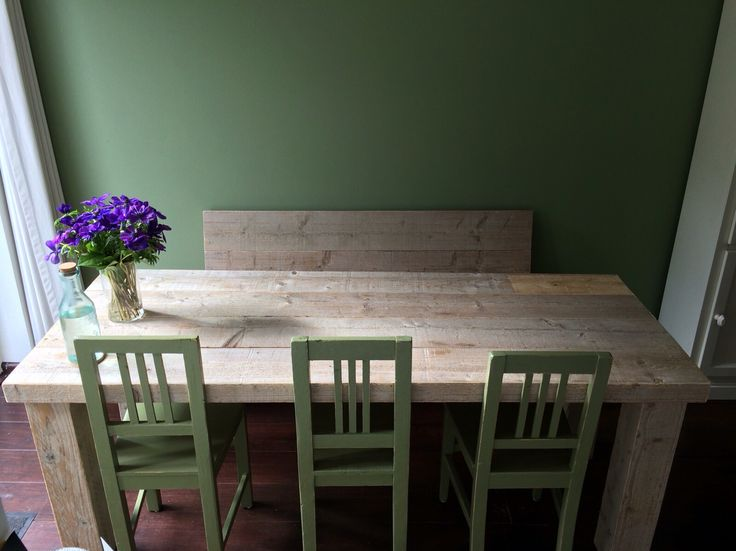 Eettafel + bank steigerhout