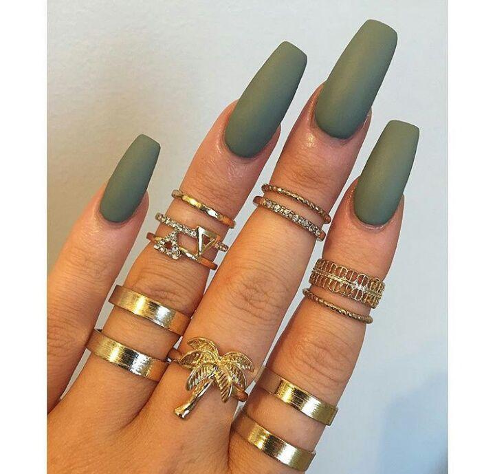 Money matte green nails