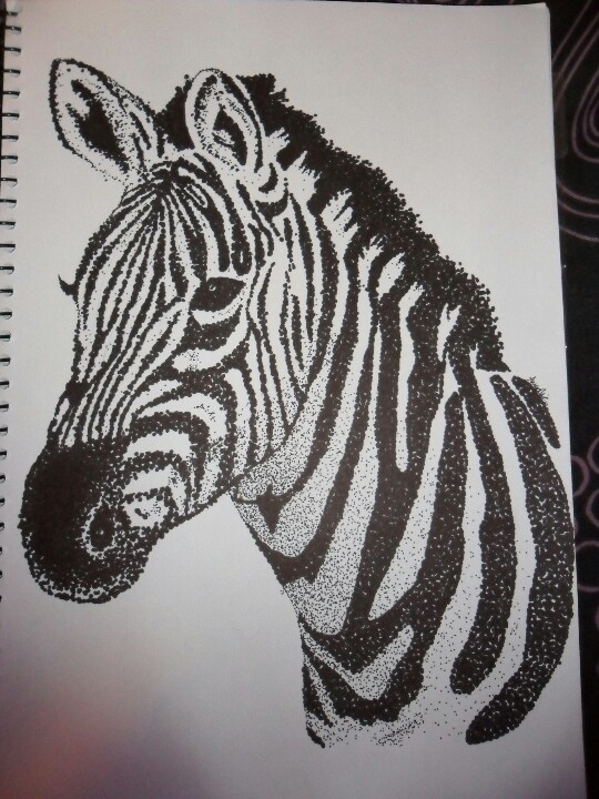 Zebra dot drawing - black sharpie artist Anneka Collins
