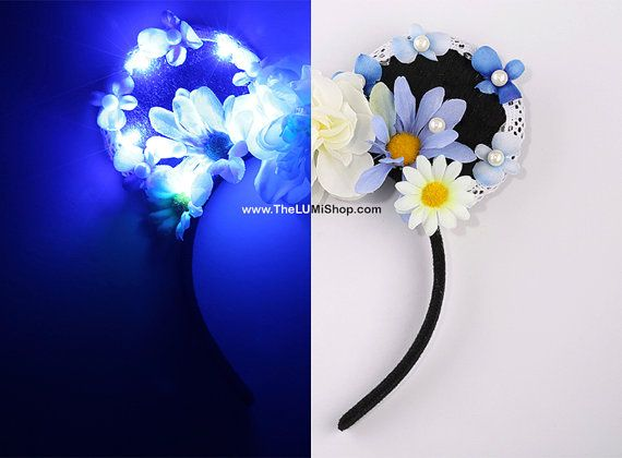 Blue Daisy Disney LED Light Up Mickey Ears,Cute Minnie Ears,Floral Mickey Ears,Disney Ears,Flower Mouse Ears,Disney Headband,Disneyland Ears