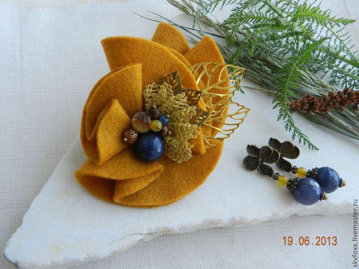 """Купить """"Горчичное семечко"""" брошь - оранжевый, синий, горчичный, горчичный цвет, брошь, текстильная брошь"""