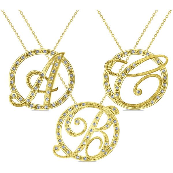 Allurez Diamond Circle Script Initials Pendant Necklace 14k Yellow... ($1,360) ❤ liked on Polyvore featuring jewelry, necklaces, gold necklace, 14k gold necklace, diamond pendant necklace, gold diamond pendant and diamond circle necklace