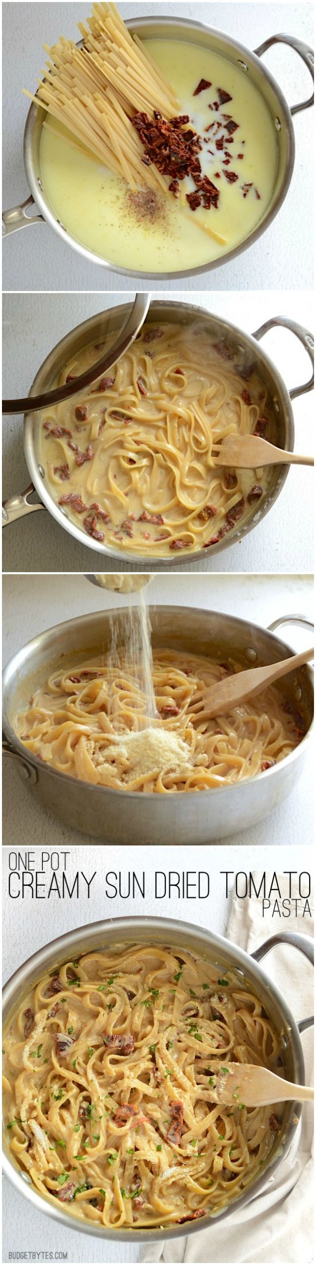 This incredibly fast and easy Creamy Sun Dried Tomato Pasta cooks in 30 minutes and uses just one pot. Make dinner delicious any night of the week! - BudgetBytes.com