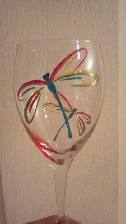 Sharpie free Form Abstract hand drawn Dragonflies on Wine Glasses