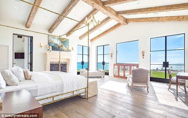 Big bedroom: The Malibu mansion included a huge bedroom with sweeping ocean…