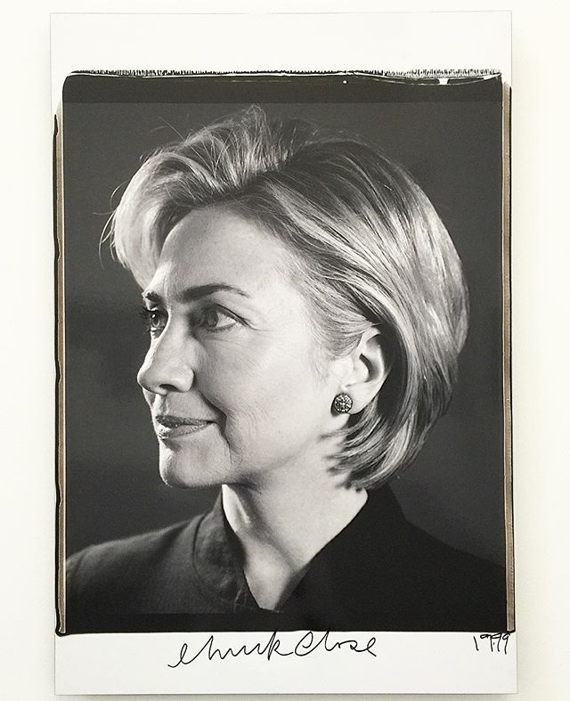 #hillaryclinton #chuckclose Black and White Polaroid 1999 (2015 @parrishart Show)