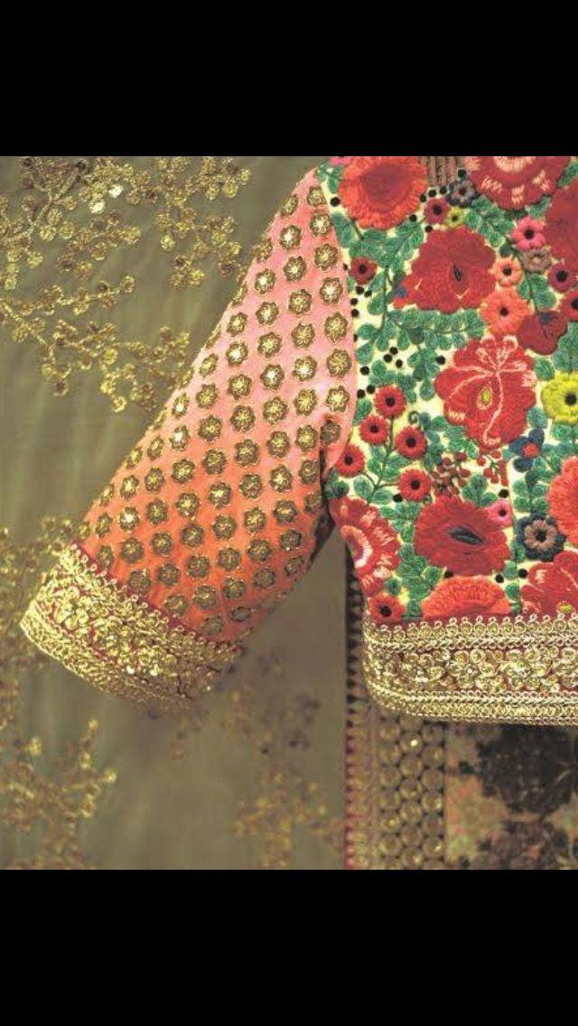 Floral applique and sequins bridal saree blouse