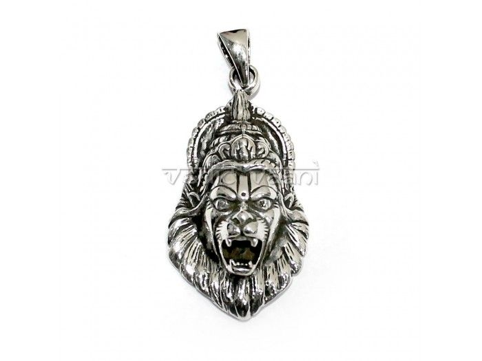 Narasimha locket in silver buy online from VedicVaani.com . This image is widely worshipped in deity form by a significant number of Vaishnava groups.
