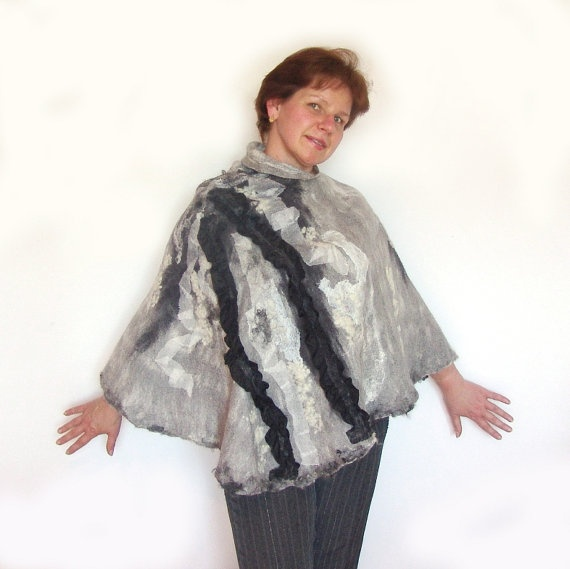 Nuno felted poncho wrap capelet seamless White Black stole #felted #scarf #poncho #wrap #wool #felt #grey #capelet $129.00
