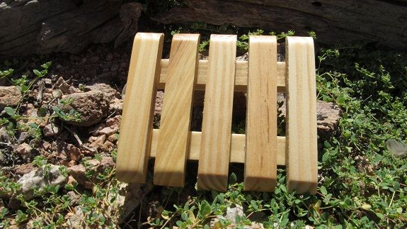All Natural Pine Wood Soap Dish With Protectors.