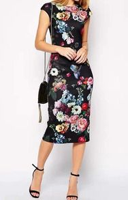 Round Neck Flower Print Frocks Slim Dress -SheIn(Sheinside)