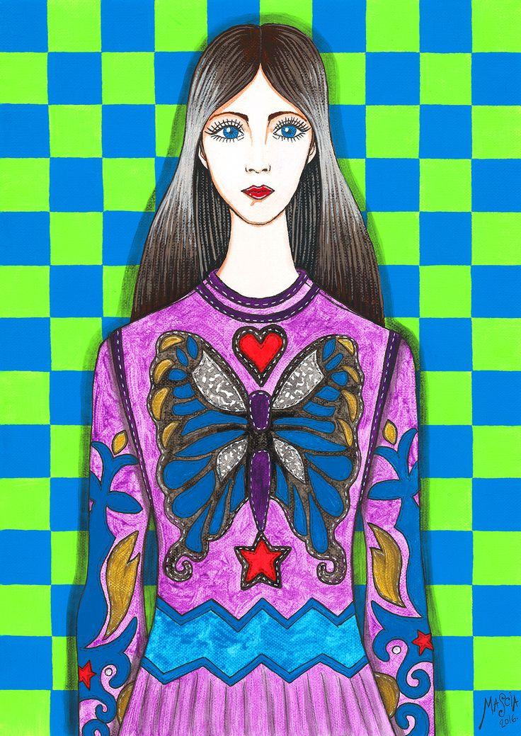 Butterfly Woman acrylic on canvas 42x29,5 cm 2016