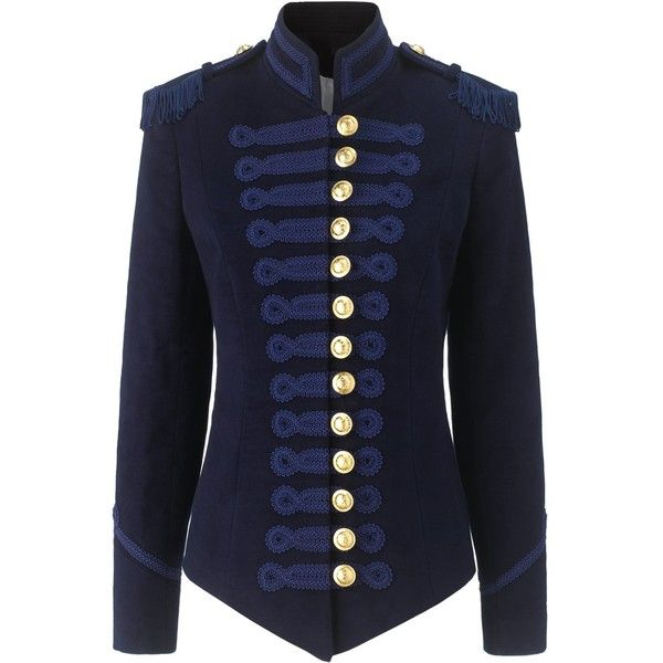 Pinky Laing Navy Velvet Military Jacket (69.680 RUB) ❤ liked on Polyvore featuring outerwear, jackets, tops, coats, coats & jackets, navy blue, blue field jacket, navy blue jacket, blue jackets and velvet jacket