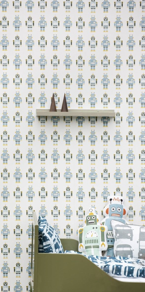 robot wallpaper....Hubby would totally want this in a boys room if we ever have a sun