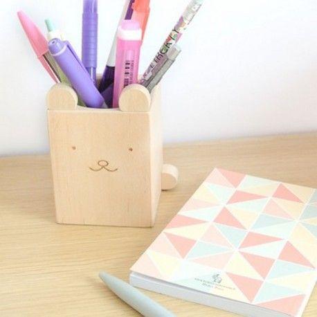 Pot à Crayons en bois Ours