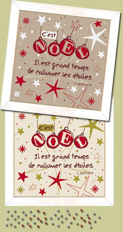 """Lilipoints - Noël """"c'est noël""""  """"il est grand temps de rallumer les étoiles"""" 210 x 210 points  N021"""