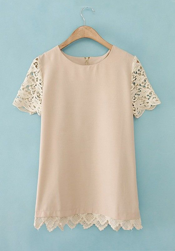 Apricot Patchwork Short Sleeve Wrap Cotton Blend T-Shirt
