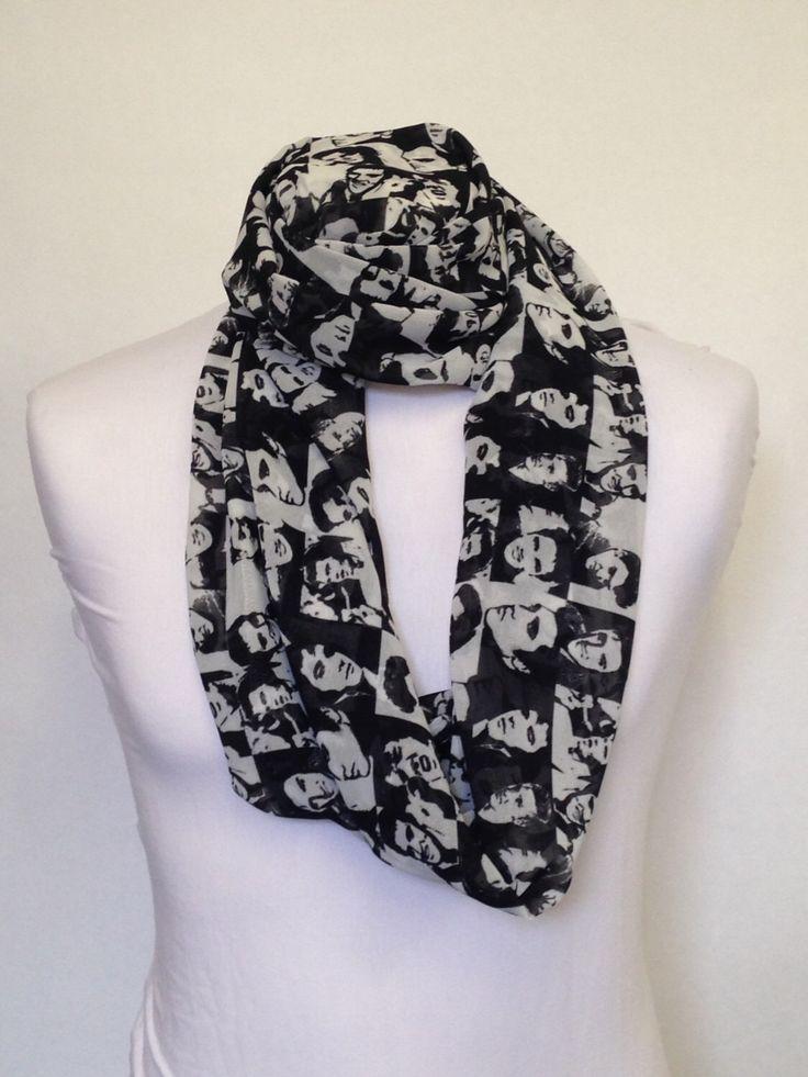 Elvis Presley Black & White Infinity Scarf Jersey or Chiffon Fabric Unisex Fashion Loop Scarf by DigitalPrinters on Etsy https://www.etsy.com/listing/231070836/elvis-presley-black-white-infinity-scarf