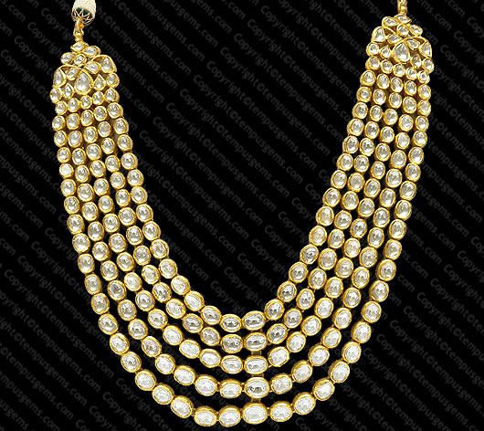 Necklace with 5 Rows Polki and intricate Meena word on the back set in 18K Gold